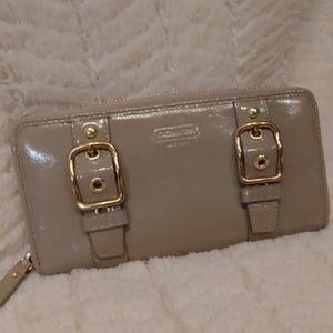 Coach Zoe Patent Double Buckle Zip Around Wallet